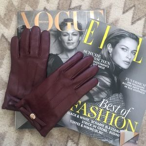 COACH maroon leather gloves with bow detail